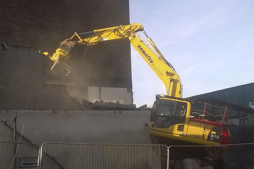 Diggers Demolishing concrete