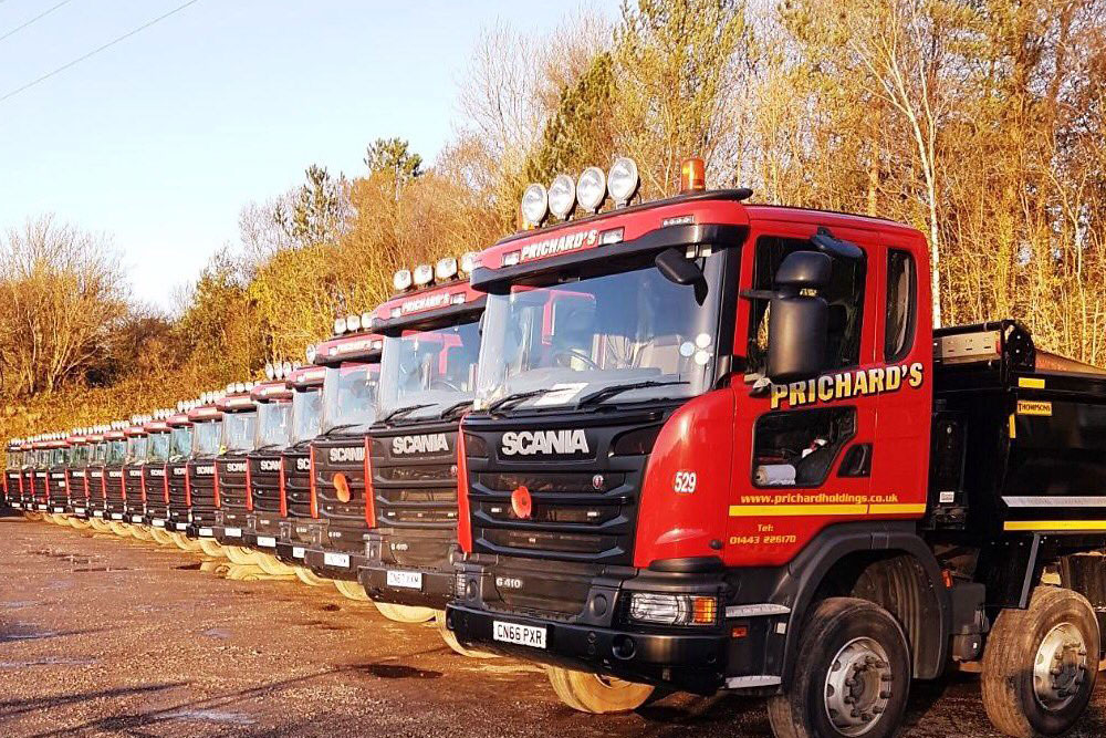 Fleet of trucks stationary